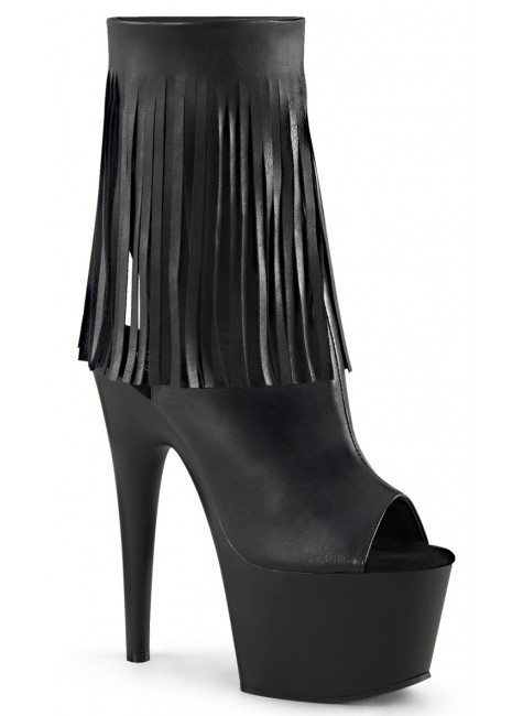 Fringed Black Peep Toe and Heel Platform Ankle Boot at Gothic Plus, Gothic Clothing, Jewelry, Goth Shoes & Boots & Home Decor