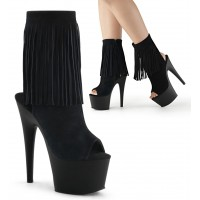 Fringed Black Suede Peep Toe and Heel Platform Ankle Boot