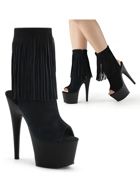 Fringed Black Suede Peep Toe and Heel Platform Ankle Boot at Gothic Plus, Gothic Clothing, Jewelry, Goth Shoes & Boots & Home Decor