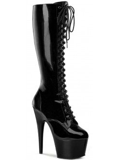 Adore Knee High Black Patent Platform Granny Boot