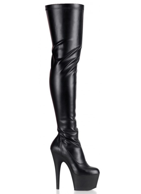 Adore Black Matte Thigh High Platform Boot at Gothic Plus, Gothic Clothing, Jewelry, Goth Shoes & Boots & Home Decor