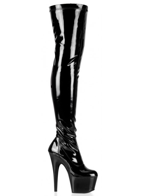 Adore Black Patent Thigh High Platform Boot at Gothic Plus, Gothic Clothing, Jewelry, Goth Shoes & Boots & Home Decor