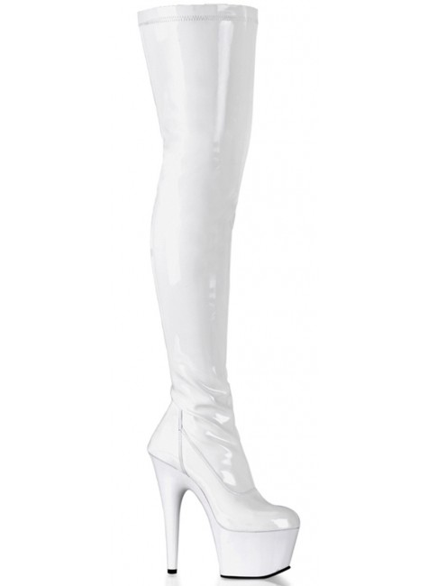 Adore White Thigh High Platform Boot at Gothic Plus, Gothic Clothing, Jewelry, Goth Shoes & Boots & Home Decor
