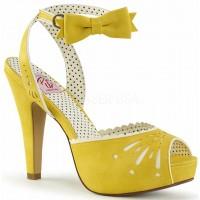 Vintage Bettie Yellow Ankle Bow Peep Toe Pump