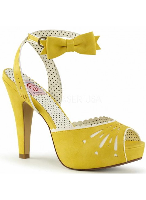 Vintage Bettie Yellow Ankle Bow Peep Toe Pump