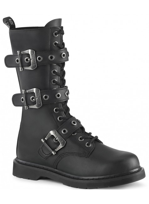 Bolt Mens Combat 14-Eyelet Boot with Buckled Straps at Gothic Plus, Gothic Clothing, Jewelry, Goth Shoes & Boots & Home Decor