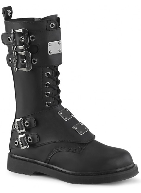 Bolt Mens Combat 14-Eyelet Boot with Metal Plates at Gothic Plus, Gothic Clothing, Jewelry, Goth Shoes & Boots & Home Decor
