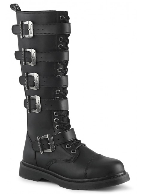 Bolt Mens Knee High Combat Boot with Buckled Straps at Gothic Plus, Gothic Clothing, Jewelry, Goth Shoes & Boots & Home Decor