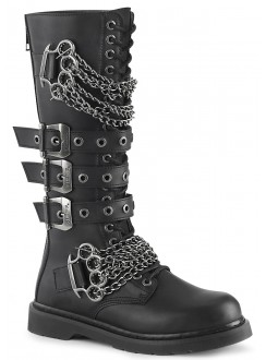 Chained Bolt Mens Combat Knee High Biker Boot Gothic Plus Gothic Clothing, Jewelry, Goth Shoes & Boots & Home Decor