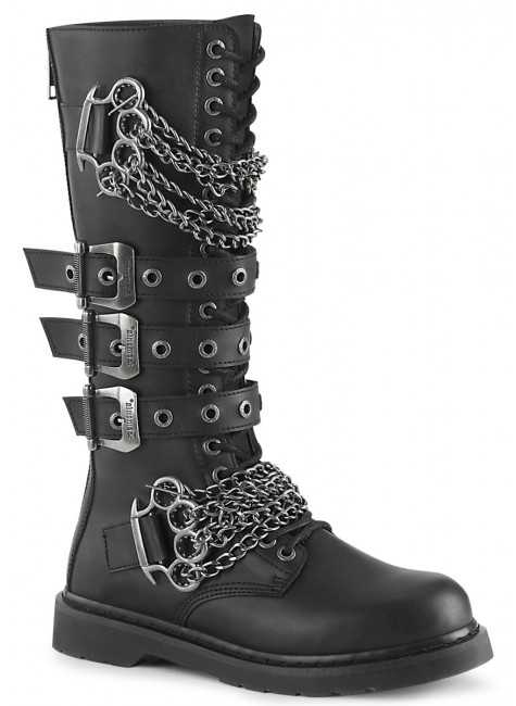 Chained Bolt Mens Combat Knee High Biker Boot at Gothic Plus, Gothic Clothing, Jewelry, Goth Shoes & Boots & Home Decor