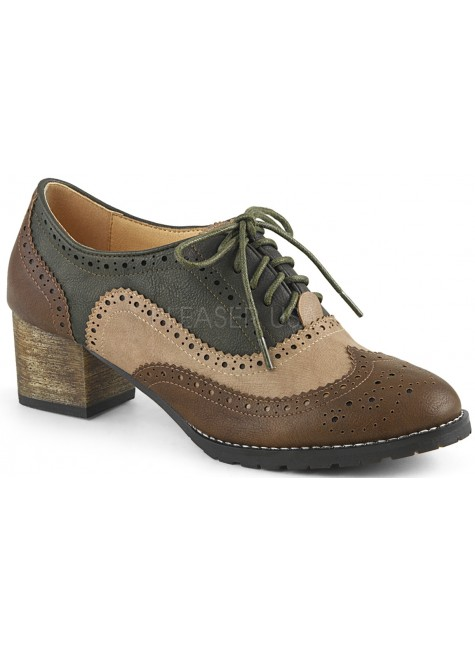 Russell Womens Wingtip Oxford in Tan and Brown at Gothic Plus, Gothic Clothing, Jewelry, Goth Shoes & Boots & Home Decor