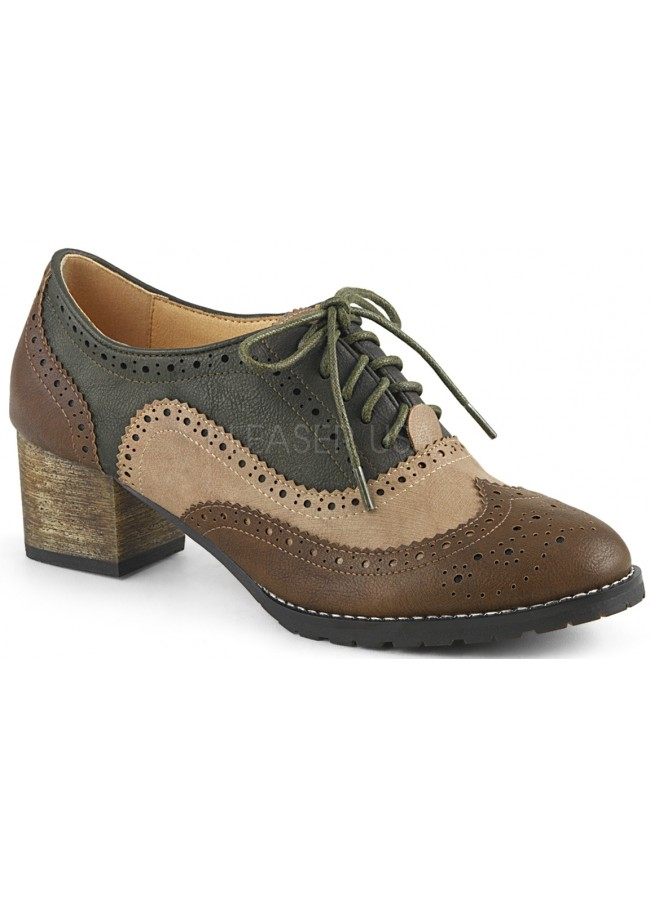 c9ca6b5868c Russell Womens Wingtip Oxford in Tan and Brown Brogue Detailing