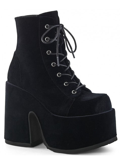 Black Velvet Camel Chunky Heel Platform Boots at Gothic Plus, Gothic Clothing, Jewelry, Goth Shoes & Boots & Home Decor