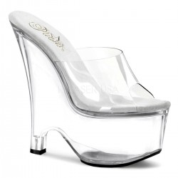 Beau Clear Wedge Peep Toe Mule Gothic Plus Gothic Clothing, Jewelry, Goth Shoes & Boots & Home Decor