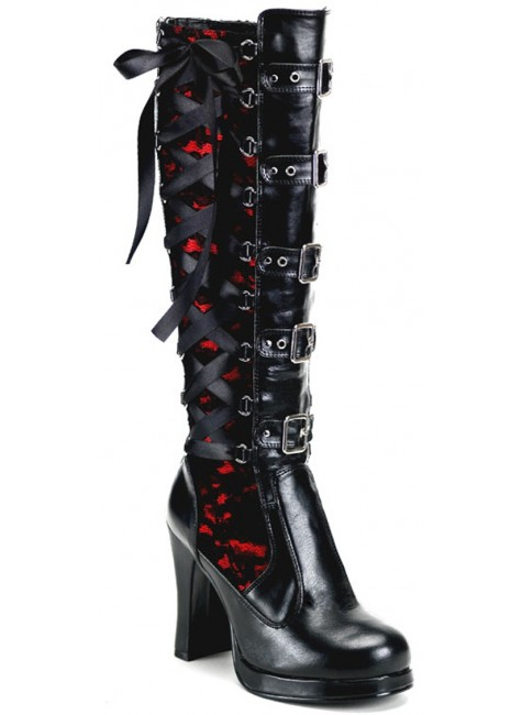 Crypto Lace Overlay Knee Boot at Gothic Plus, Gothic Clothing, Jewelry, Goth Shoes & Boots & Home Decor