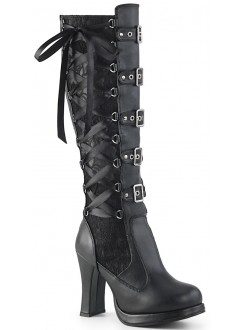 Crypto Black Lace Overlay Knee Boot Gothic Plus Gothic Clothing, Jewelry, Goth Shoes & Boots & Home Decor