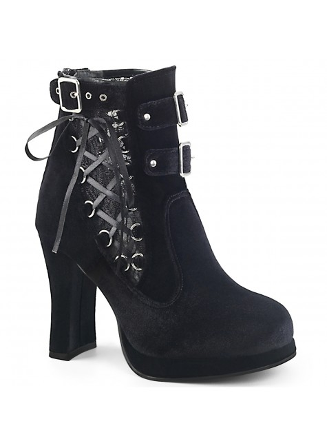 Corset Laced Black Velvet Crypto Gothic Ankle Boot at Gothic Plus, Gothic Clothing, Jewelry, Goth Shoes & Boots & Home Decor