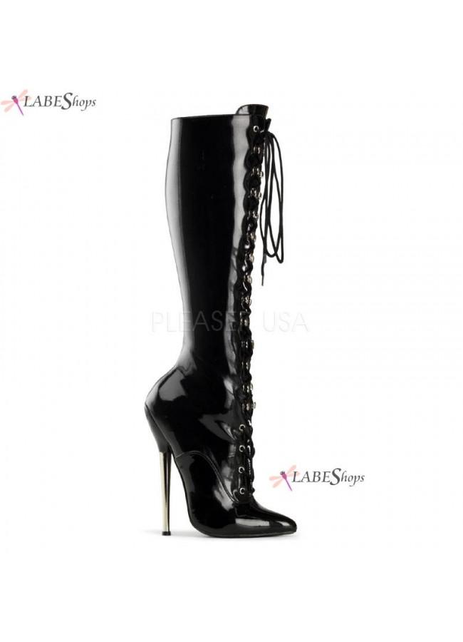 Demonia Glossy Black Knee High Stiletto Platforms | Stiletto