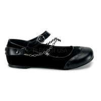 Skull Chain Buckle Mary Jane Flats