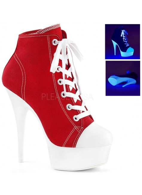 Red and White High Heel Platform Sneaker at Gothic Plus, Gothic Clothing, Jewelry, Goth Shoes & Boots & Home Decor