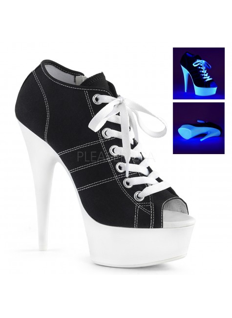 Black High Heel Peep Toe Sneaker at Gothic Plus, Gothic Clothing, Jewelry, Goth Shoes & Boots & Home Decor