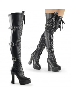 Electra Black Buckled Thigh High Platform Boots Gothic Plus Gothic Clothing, Jewelry, Goth Shoes & Boots & Home Decor
