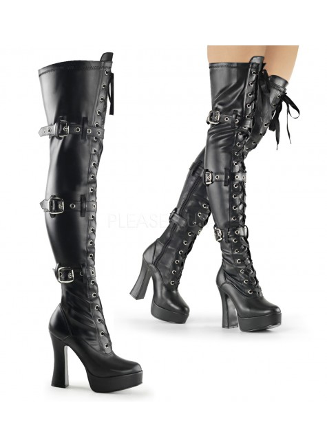 Electra Black Buckled Thigh High Platform Boots at Gothic Plus, Gothic Clothing, Jewelry, Goth Shoes & Boots & Home Decor