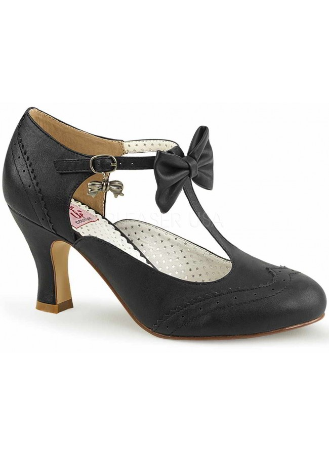 Flapper Black Kitten Heel T-Strap Bow Pump 3 Inch Heel Retro Women ...