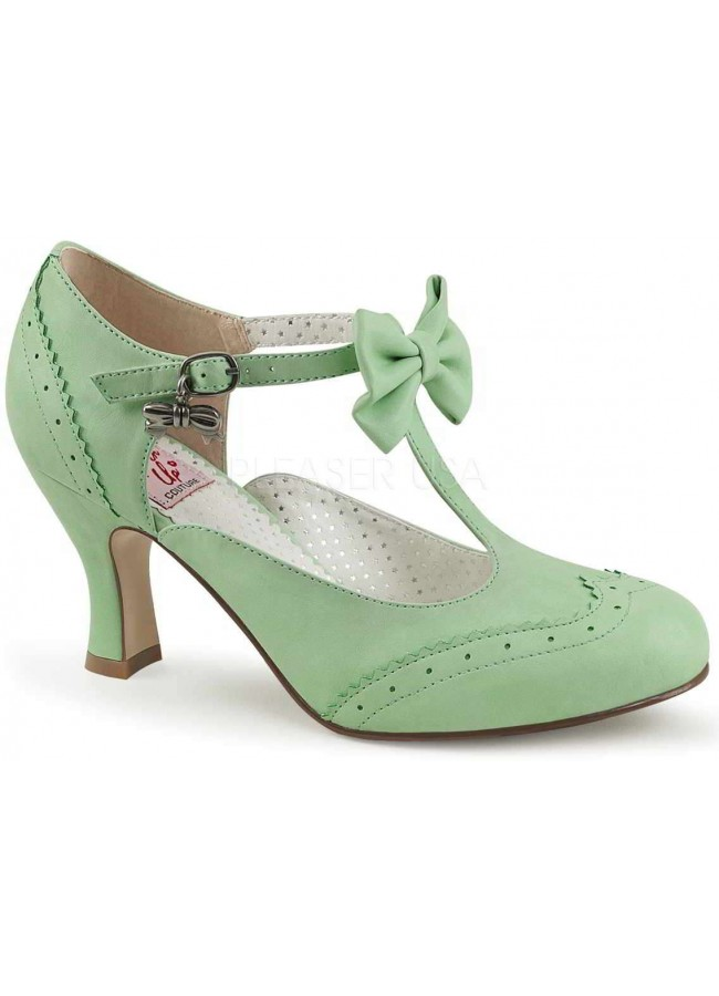 Flapper Mint Green Kitten Heel T Strap Bow Pump At Gothic Plus Gothic Clothing