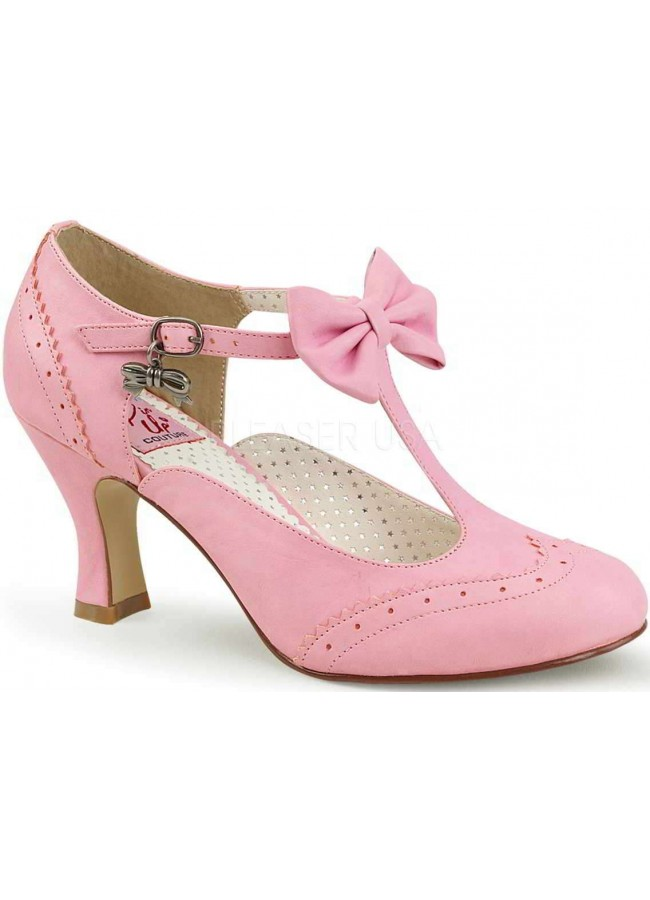 Flapper Pink Kitten Heel T-Strap Pump 3 Inch Heel Retro Women Shoe