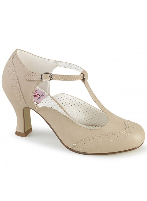 Flapper Cream T-Strap Pump at Gothic Plus, Gothic Clothing, Jewelry, Goth Shoes & Boots & Home Decor