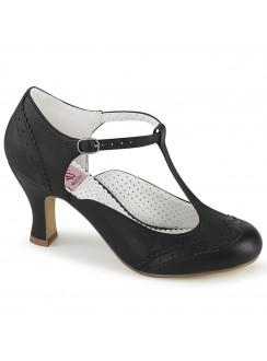 Flapper Black Kitten Heel T-Strap Pump