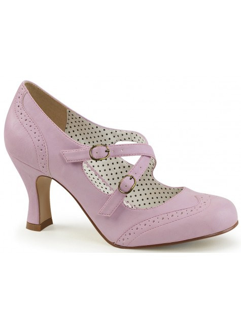 Cross Strap Flapper Lavender Vintage Heel Shoe at Gothic Plus, Gothic Clothing, Jewelry, Goth Shoes & Boots & Home Decor