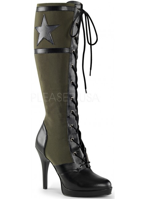 Arena Army Green Knee Boots for Women at Gothic Plus, Gothic Clothing, Jewelry, Goth Shoes & Boots & Home Decor
