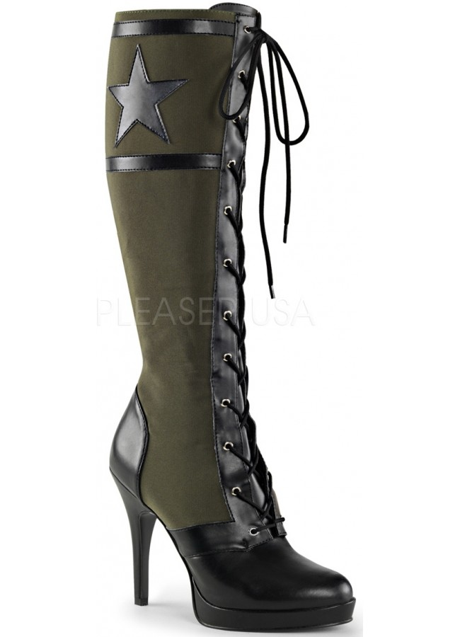 Arena Army Green Knee Boots for Women