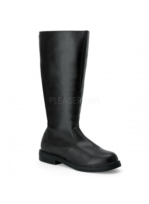 Captain Mid Calf Plain Black Boots at Gothic Plus, Gothic Clothing, Jewelry, Goth Shoes & Boots & Home Decor