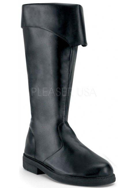 Captain Mid Calf Cuffed Black Boots at Gothic Plus, Gothic Clothing, Jewelry, Goth Shoes & Boots & Home Decor