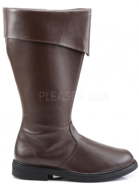 Captain Mid Calf Cuffed Brown Boots at Gothic Plus, Gothic Clothing, Jewelry, Goth Shoes & Boots & Home Decor