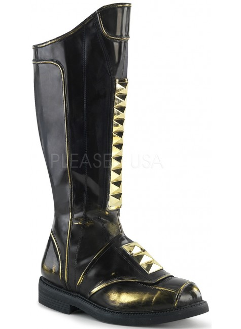 Captain Black Studded Cycle Boots at Gothic Plus, Gothic Clothing, Jewelry, Goth Shoes & Boots & Home Decor