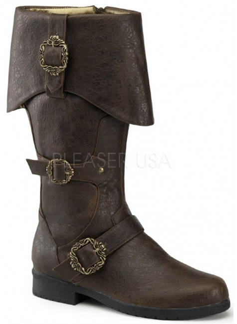 Carribean Distressed Brown Pirate Boots at Gothic Plus, Gothic Clothing, Jewelry, Goth Shoes & Boots & Home Decor