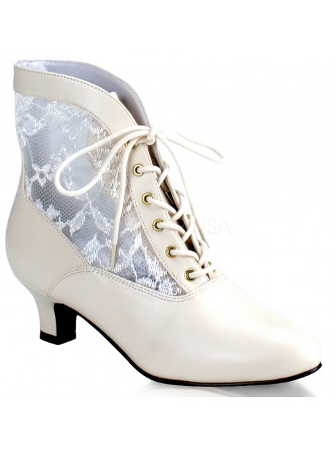 Victorian Dame Ivory Ankle Boot at Gothic Plus, Gothic Clothing, Jewelry, Goth Shoes & Boots & Home Decor