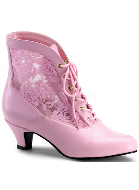 Victorian Dame Baby Pink Ankle Boot at Gothic Plus, Gothic Clothing, Jewelry, Goth Shoes & Boots & Home Decor