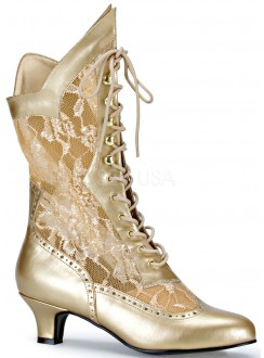 Victorian Dame Gold Lace Boot Gothic Plus Gothic Clothing, Jewelry, Goth Shoes & Boots & Home Decor