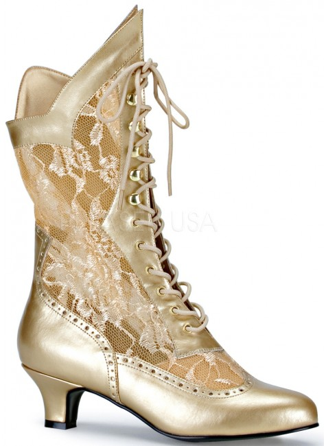 Victorian Dame Gold Lace Boot at Gothic Plus, Gothic Clothing, Jewelry, Goth Shoes & Boots & Home Decor