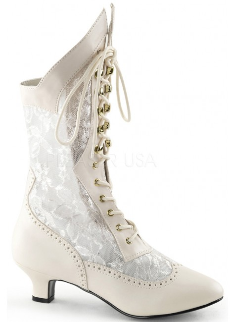 Victorian Dame Ivory Lace Boot at Gothic Plus, Gothic Clothing, Jewelry, Goth Shoes & Boots & Home Decor