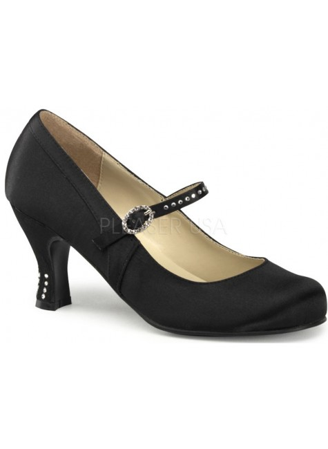 Flapper Black Satin Mary Jane Pump at Gothic Plus, Gothic Clothing, Jewelry, Goth Shoes & Boots & Home Decor