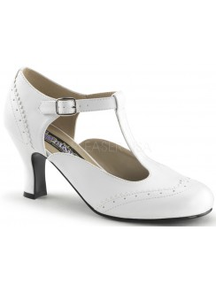 Flapper White T-Strap Pump Gothic Plus Gothic Clothing, Jewelry, Goth Shoes & Boots & Home Decor