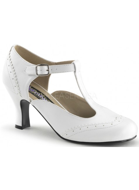 Flapper White T-Strap Pump at Gothic Plus, Gothic Clothing, Jewelry, Goth Shoes & Boots & Home Decor