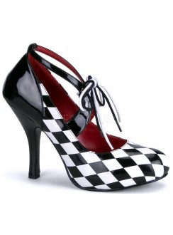 Harlequinn Black and White Checkered Pump Gothic Plus Gothic Clothing, Jewelry, Goth Shoes & Boots & Home Decor