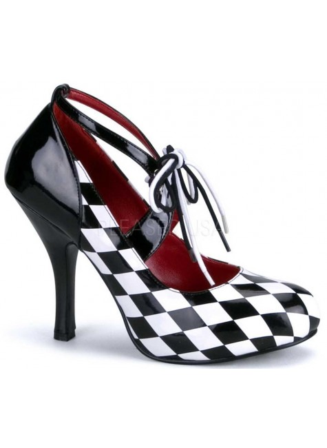Harlequinn Black and White Checkered Pump at Gothic Plus, Gothic Clothing, Jewelry, Goth Shoes & Boots & Home Decor